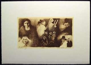 Gathering Signed Original Color Lithograph Artwork Art Make Offer