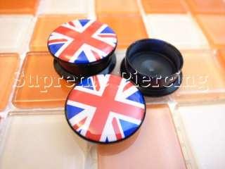 Union Jack UK Flag Flesh Tunnels Ear Plugs Select Size