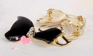 Lovely Cat Kitten shell Bow Brooch Pin Badge Hot