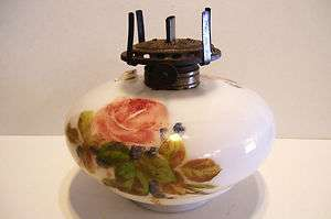 Antique Hand Painted Roses Victorian Milk Glass Oil Lamp Font Hanging