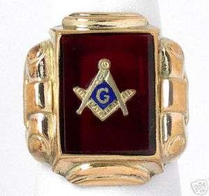 BEAUTIFUL 14K GOLD, RED CRYSTAL & ENAMEL MASONIC RING