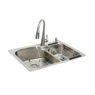 Glacier Bay All in One Top Mount Stainless Steel 33x22x9 2 Hole Double