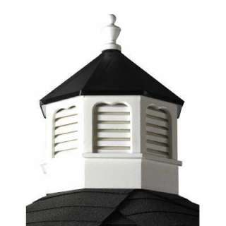 Octagonal Vinyl Cupola With Black Metal Roof SVCUP