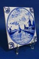 e631f SHIP IN CANAL ON DELFT BLUE TILE