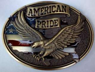 NEW AMERICAN PRIDE EAGLE ANIMAL USA 3 D BELT BUCKLE