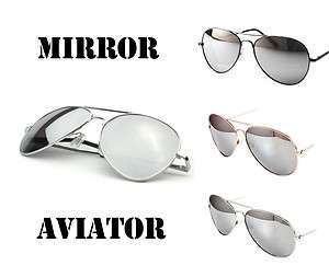 NWT MIRROR LENS Small AVIATOR cop pilot sunglasses silver metal Retro