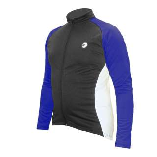 Winter Weight Cycling Jersey   Mens Black/Blue