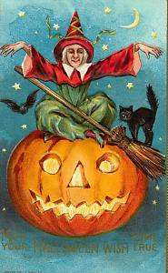 Fabric Block Vintage Halloween Witch Pumpkin Cat
