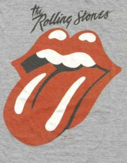 80s THE ROLLING STONES Tri Blend Heather Grey CONCERT Tour T Shirt M G