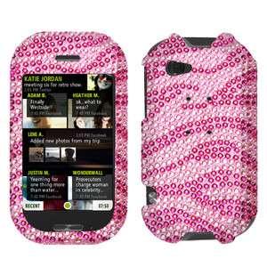 New For Sharp Kin Two Cell Phone Hot Pink Zebra Full Bling Stone Hard