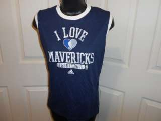 NEW Dallas Mavericks Womens Medium M Navy Blue Sleeveless Adidas Shirt