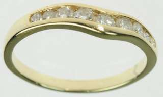 14K SOLID YELLOW GOLD DIAMOND CURVED WEDDING BAND ESTATE RING J179299