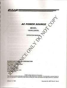 Elgar AC Power Source Model 1203SL/2253SL Operation Manual