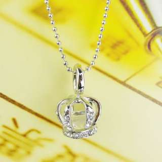 3D Silver Rhinestone Crown with crystal pendant long Necklace