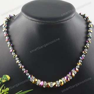 Multicolor Faceted Crystal Glass Ball Bead Jewelry Necklace 1Strand