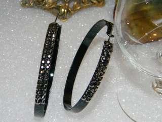 GOLD~SILVER~COPPER~GRAY~BLACK CRYSTAL HOOP EARRINGS XL