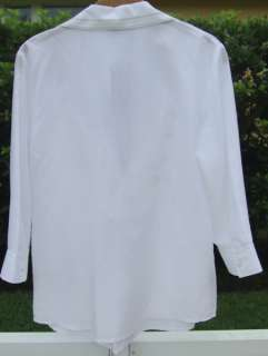 TALBOTS WHITE COTTON SILK EMBROIDERED V  NECK TUNIC BLOUSE TOP SHIRT 8