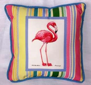 Tropical Pink Flamingo TiKi Indoor Outdoor Pillow 084