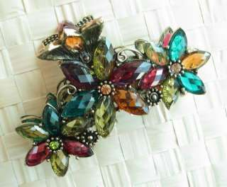 COLORS SWAROVSKI CRYSTAL 3 BIG BRONZE FLOWER HAIR CLAW CLIP 803