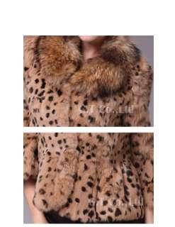 0203 Real rabbit fur raccoon fur leopard jacket coat women winter C