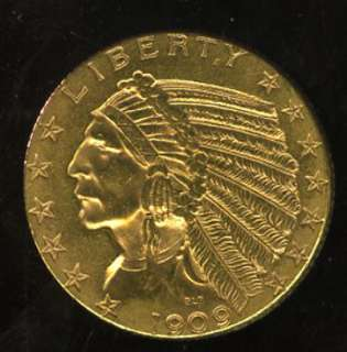VERY NICE 1909 INDIAN HEAD GOLD HALF EAGLE G$5  TD75