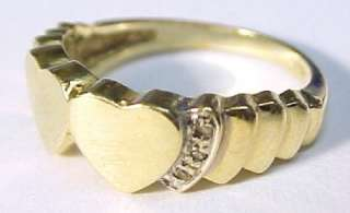 HEARTS ~ Diamond / 14KT Solid Gold Ring ~ Size 7.75
