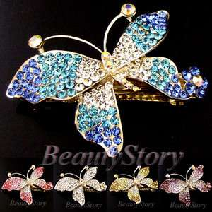 rhinestone crystal butterfly hair barrette clip wedding