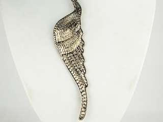 Vintage Inspired Big Large Angel Bird Wing Profile Silver Tone Pendant