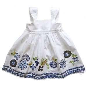 Emoi Mädchen Kleid mit Blumenapplikationen/Sommerkleid,weiß,Größe