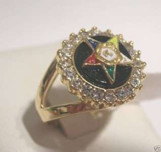 EASTERN STAR Black with Multi colored Star Lifetime Warranty Ring