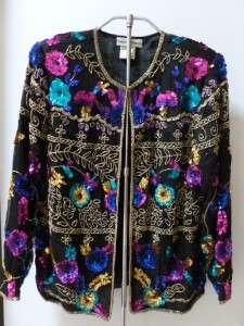 NEW Black Silk Jewel Tone Sequin Beaded Glam Holiday Trophy Jacket Med