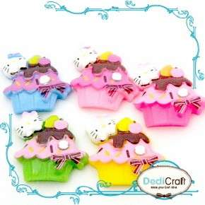 B0171 (25 pcs) Mixed Cup Cake Hello Kitty Sweet Resin Flatback Dessert