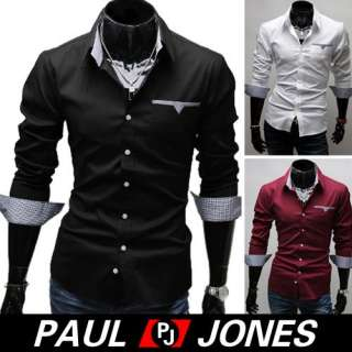 Luxury Patched Mens Casual Slim Fit Stylish Formal Dress Shirt Tops