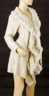 Ladies Wool Knitting Sweater Ruffle Top Coat Blouse Dress Outer Wear S