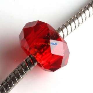 Bulk Wholesale Mixed Crystal Glass Charms European Beads Fit Bracelet
