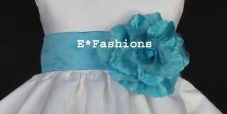 TURQUOISE BLUE TIE BOW SASH 4 WEDDING FLOWER GIRL DRESS SM M LG 2 4 6