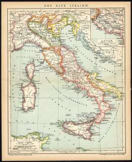 Antique Map ANCIENT ITALY ROMAN EMPIRE Meyers 1895