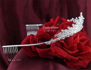 BRIDAL WEDDING CLEAR SWAROVSKI CRYSTAL TIARA #TR131