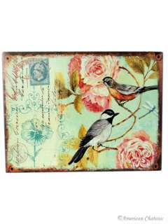 Metal French Birds & Flowers Plaque/Sign Wall Decor