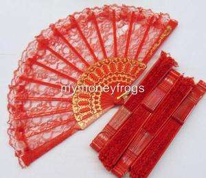 1x ONE RED Bridal Wedding Quinceanera Party Lace Hand Asian Fan