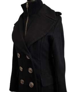 LAST Miss Sixty Wool Double Breasted Coat Black Buttons and Zip Size