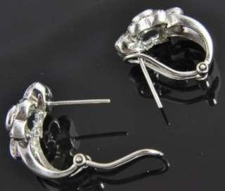 14K White Gold .33 CT Diamond Flower Omega Huggie Hoop Earrings