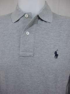 NWT Ralph Lauren Mens Polo Shirt LONG SLEEVE Mesh Gray Grey Navy Pony
