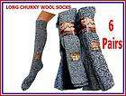pairs MENS LONG KNEE HIGH CHUNKY WOOL WORK BOOT SOCKS