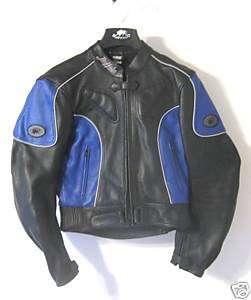 LADIES BUFFALO Motorcycle Jacket Leather Black Blue 14