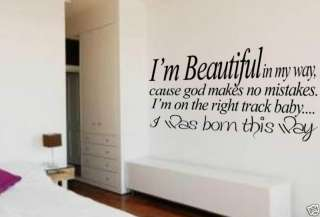 WALL ART LADY GAGA QUOTE VINYL LYRICS BORN THIS WAY