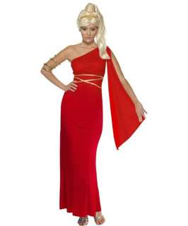 Womens Red ROMAN EMPRESS Greek Mythology Fancy Dress Costume X Large