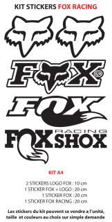 5 Stickers FOX RACING   A4 ( 12 coloris au choix )