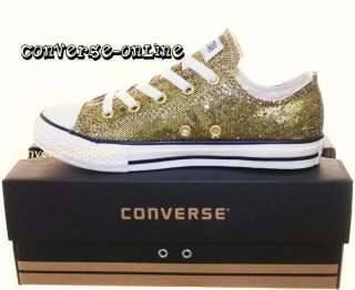 KIDS CONVERSE All Star GOLD SEQUINS Trainers SIZE UK 11