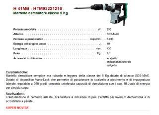 MARTELLO DEMOLITORE PER EDILIZIA HITACHI H41MB ATTACCO SDS MAX J 10 KG